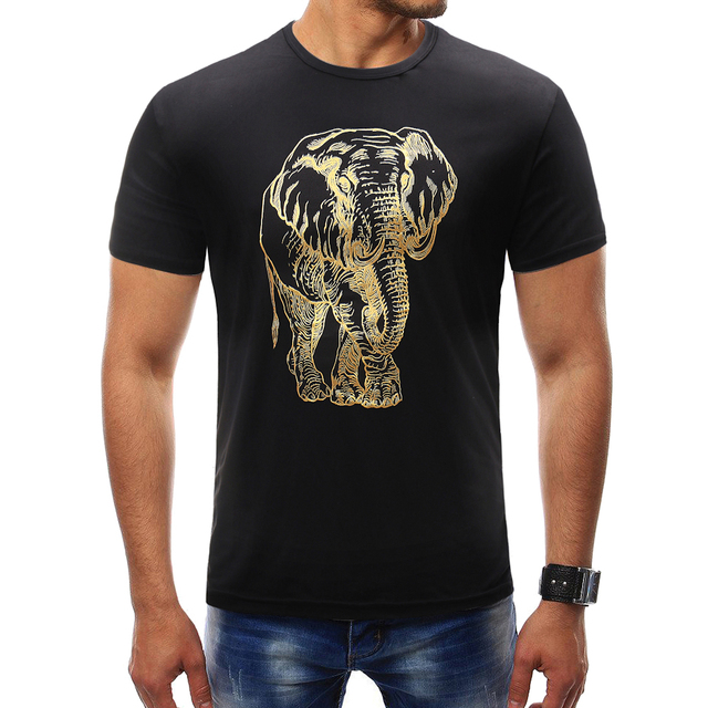 39c8c646f158a Male 2018 Brand Short Sleeve Elephant Sketch Pattern T Shirt O-Neck Slim  Men T-Shirt Tops Fashion Mens Tee Shirt T Shirts