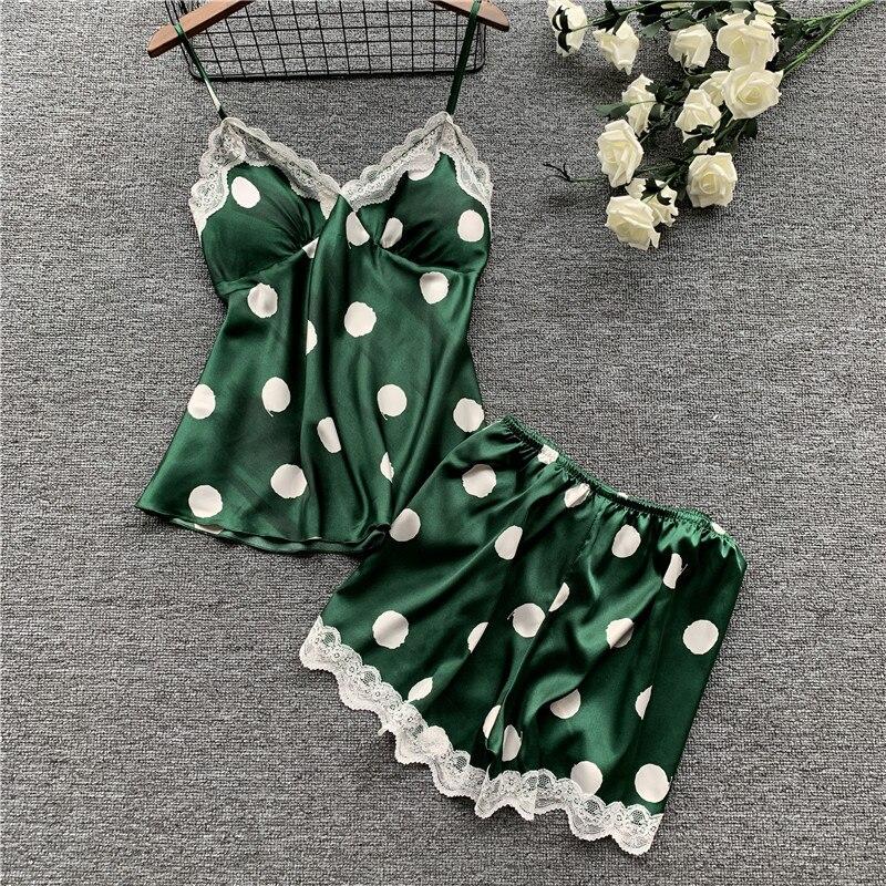 Daeyard Fashion Polka Dot Pajamas for Women Home Clothes Silk Pajama Set Sexy Satin Sleepwear Cute Summer Pyjama with Chest Pads