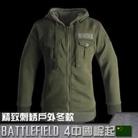 Battlefield 4 Man Slim Sweatshirt Hoodie Autumn And Winter Zipper Hooded Fleece Jacket Cotton Coats Outerwear Olive Color