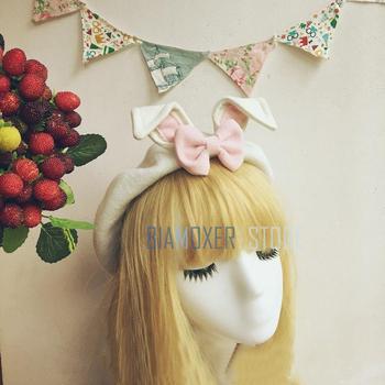 Biamoxer lindo Lolita sombreros Mori chica Orejas de conejo boina tapa de pintor Simple dulce Preppy lindo regalo de cumpleaños una boina de mujer sombrero