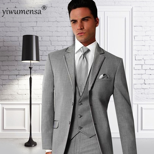 Ywms 58 Custom Made Gris Hommes De Costumes Terno Slim Fit Costume