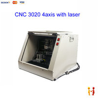 4axis CNC router 3020 with 500mw laser function with tool auto checking Mach3 software support USB 220/110v