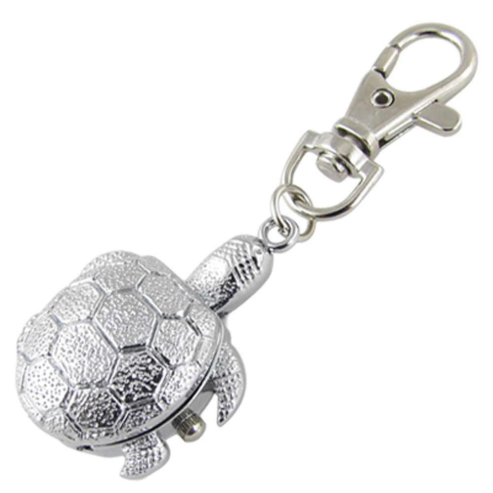 Textured Silver Tone Turtle Pendant Hunter Case Key Ring Watch