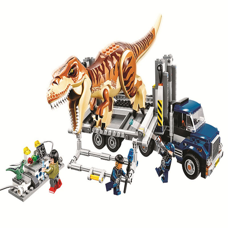 Juniors Series Jurassic World 2 T. Rex Transport Building Block Bricks Toys Compatible With Legoings Dinosaur 75933 bela 10919 raptor rescue truck jurassic dinosaur world bricks building block toys compatible with legoings juniors 10757