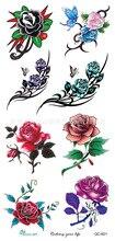 Body Art Beauty Makeup Pink Sexy Dangerous Flower Rose Tattoo 5D Waterproof Temporary Tattoo Stickers