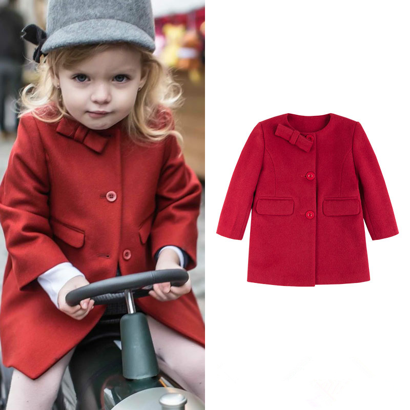 Children's clothing Danish Princess loves round collar asymmetric bow small A word swing warm coat