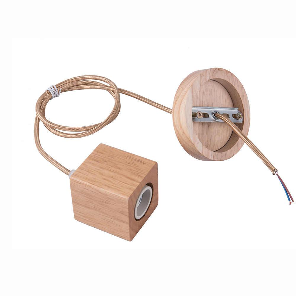 Wooden Square Led Lamp Base E27 Lamp Holder Vintage Retro Pendant Bulb Light Screw E27 Socket