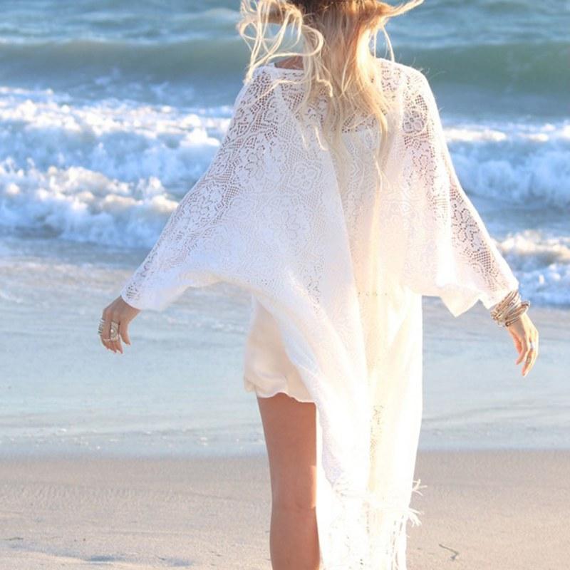2016 D'été Blanc Soleil-épreuve Cardigan Femmes Mesdames Frangée Kimono Cardigan Dentelle Blouse Plage Kimonos Vacances Solaire