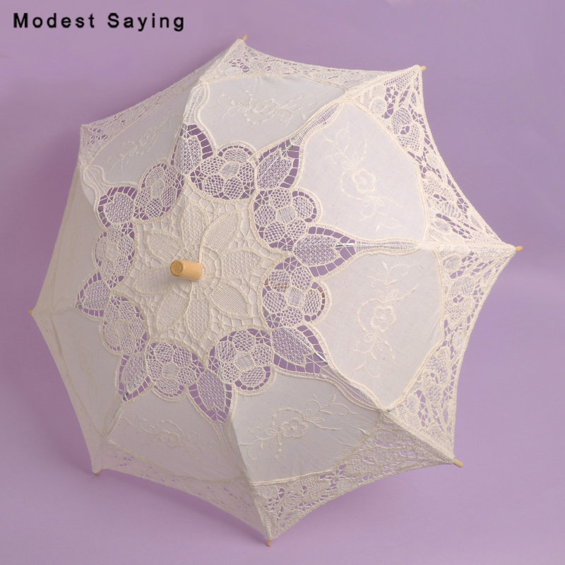 Vintage Big Victorian Embroidery Parasol Beige Lace Bridal Showers 2018 Wedding Umbrellas Accessories for Bride ombrelle mariage
