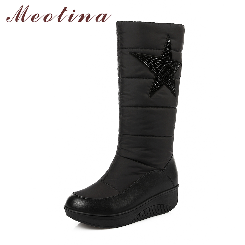 Meotina Women Winter Warm Snow Boots Knee High Boots Med Heels Platform Wedge Shoes Plush Slip On Round Toe Black botas mujer