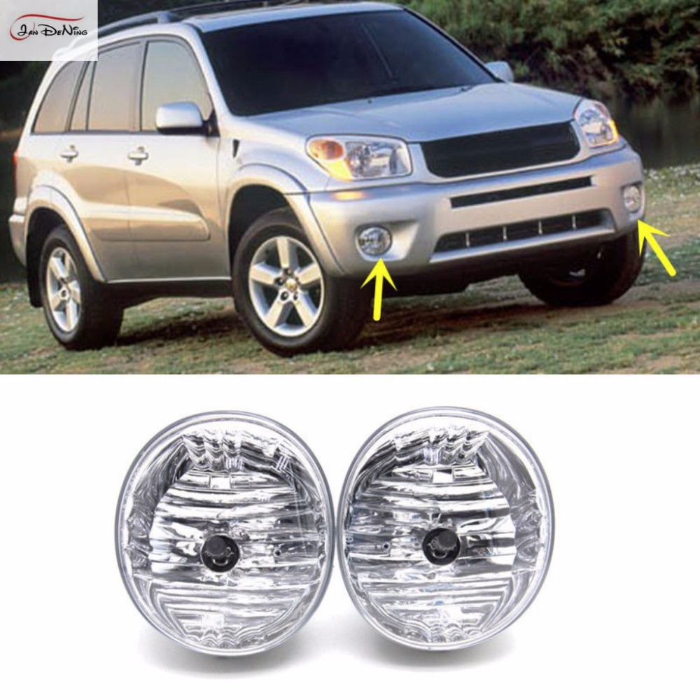 JanDeNing Car Fog Lights For 2004-2005 Toyota RAV4 Halogen bulb :9006-12V 55W Clear Front Fog Lamp Assembly kit (one Pair) car fog lights lamp for mitsubishi triton 2 door 2009 on clear lens pair set wiring kit fog light set free shipping