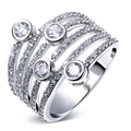 Unique AAA Cubic Zirconia Fashion rings Platinum Plated Women rings Prong Setting  Wedding Anniversary Gift
