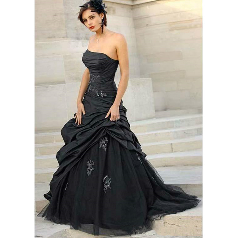 Vintage Black Wedding Dresses Long Sexy Strapless With
