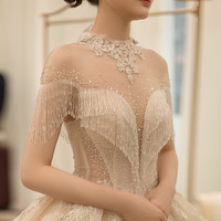 2019 Элегантный Свет Шампанское с высоким воротником, со стразами кружево платье для свадьбы принцесса Bridals платья женщин Vestido De Noiva robe de mariage
