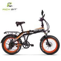 RICHBIT 500 W 48 V 20 дюйм. Толщина шина Электрический велосипед Ebike складной зимний электровелосипед спереди амортизационная вилка механические ди...