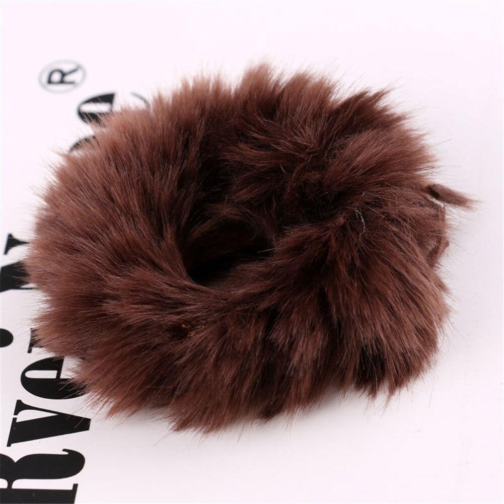 Милые эластичные резинки для волос для девочек, искусственный мех, резиновое эластичное кольцо, веревка, пушистый галстук, аксессуары для волос, меховые резинки, повязка на голову - Цвет: 8