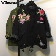Witsources women peacock embroidery jackets autumn new fashion long sleeve flower butterfly embroidery casual jacket SD3442