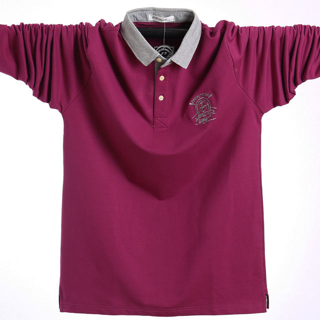 2018 Men Polo Shirt Autumn Men Business Work Casual Cotton Male Polo Shirt Long Sleeve Winter Hombre Polo Shirt Oversized L-5XL
