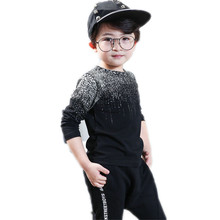 Long Sleeve Boys Clothing Striped Black Print