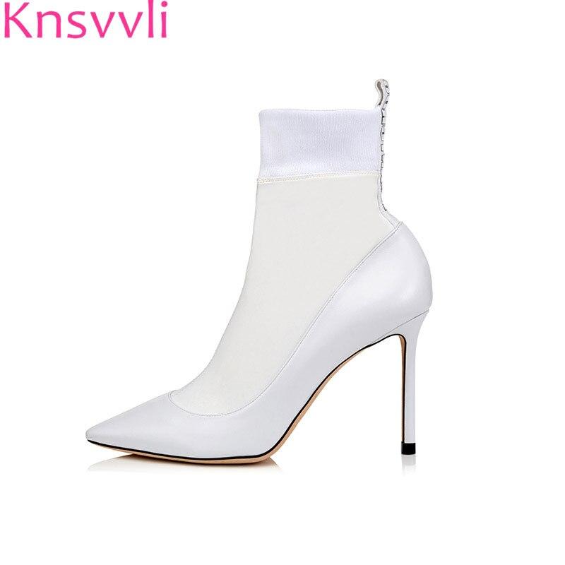 knsvvli black high heel stretch sock boots women pointy toe stiletto white patchwork sexy short boots ladies spring
