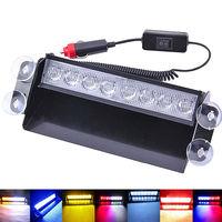 Blue 4 LED Car Emergency Warning Dashboard Dash Visor Police Strobe Lights Lamp