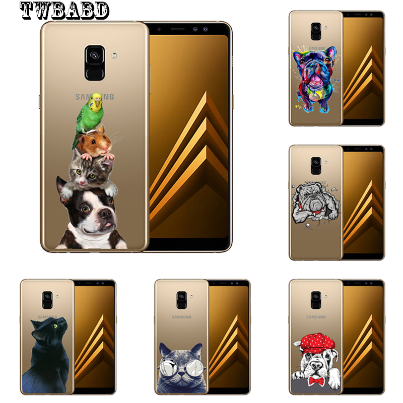 Cool Bulldog cat dog For cover Samsung Galaxy S9 S8 Plus S6 S7 S6Edge A8 Plus 2018 A3 A5 A7 J3 J5 J7 2017 shell for Samsung S9