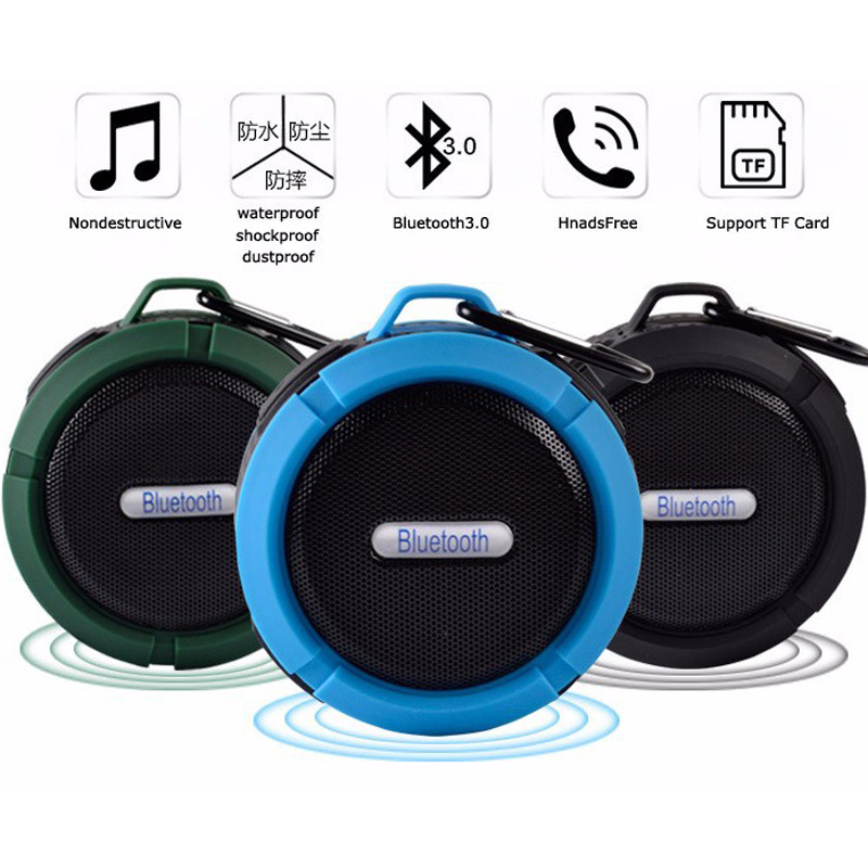 Portable Wireless Bluetooth Speaker Waterproof Sound Box Car Phone Handsfree Speakers With Sucker Cup Hook TF Card Music Player in Outdoor Speakers from Consumer Electronics