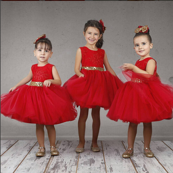 17.2017 new cheap red flower girl dress knee length princess ball gown tulle first communion gown with gold sequin sash free shipping new red hot chinese style costume baby kid child girl cheongsam dress qipao ball gown princess girl veil dress