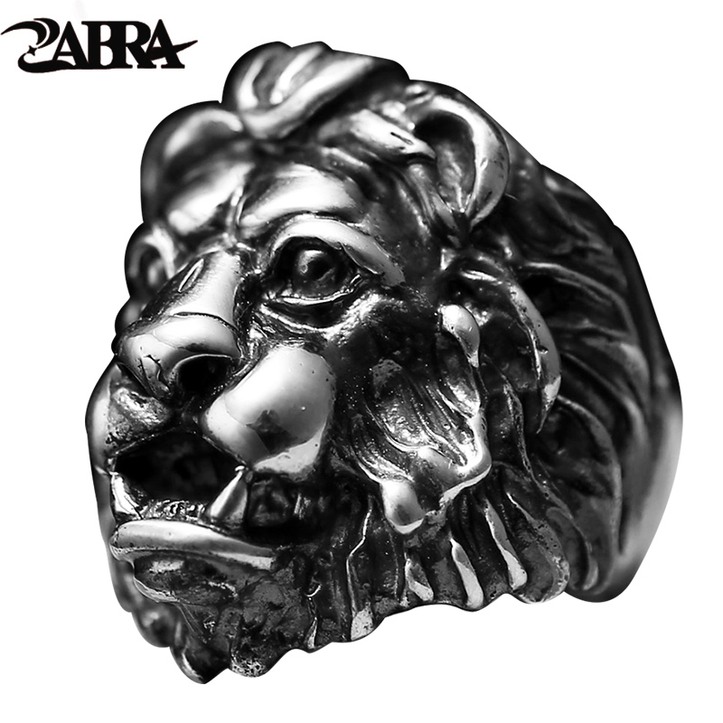 ZABRA Luxury S925 Sterling Silver Lion Personality Man Rings King Punk Vintage Black Color Biker Mens Big Heavy Gothic Jewelry