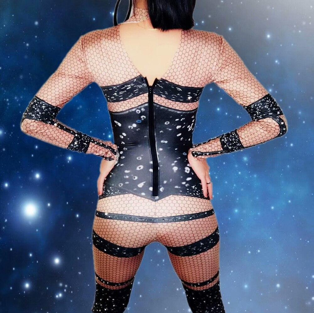 Sexy Scène Jumpsuit Afficher Performance Costume Bar Parti Discothèque Cristal Costumes Barboteuses Bal Lumineux Danseur Avec Salopette Body De H9DI2E