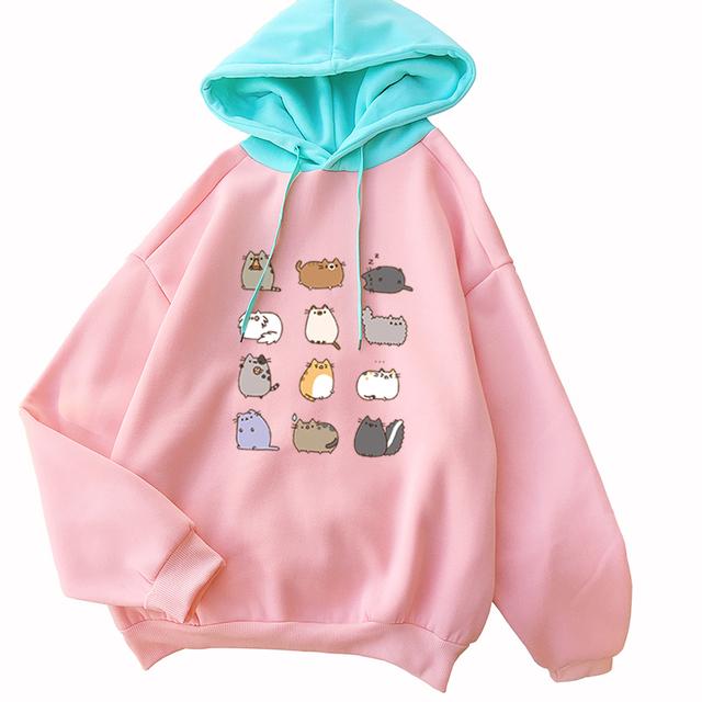 Hoodies Sweatshirt Women 2018 Harajuku Thick Long Sleeve Kawaii Cartoon Totoro Pullover Autumn Casual Pink Tops Moletom Feminino
