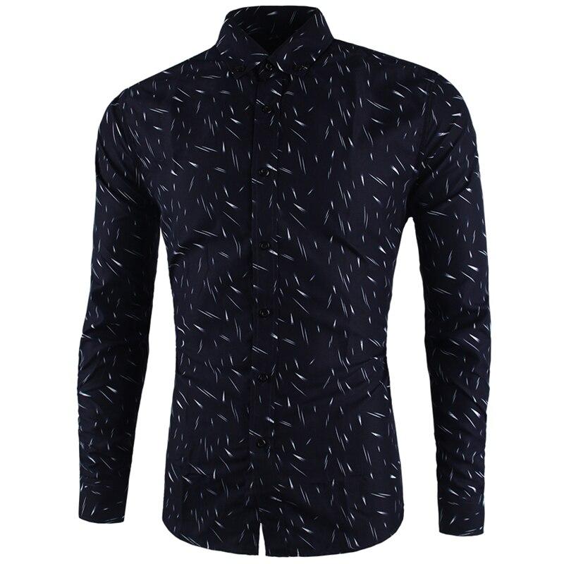 Новые осенние Для мужчин Повседневное рубашки модная одежда с длинными рукавами марки Button-Up Тонкий Формальные Бизнес метеорный поток печат...