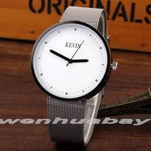 Moda Mens Watch Branco Round Dial Caixa de Aço Inoxidável Analógico Mulheres Relógios Das Mulheres Dos Homens de Pulso de Quartzo Presentes Relogio feminino