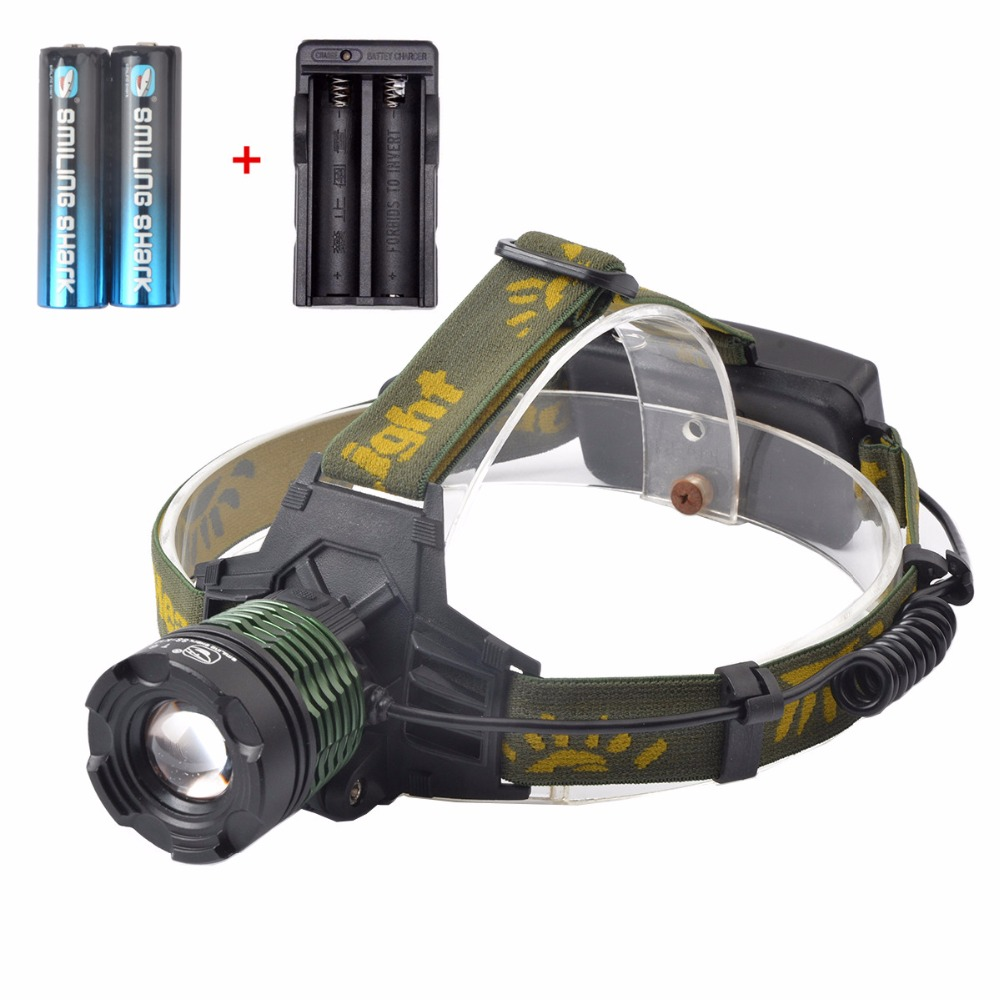 Brightest 2000 Lumens Adjustable Focus Zoomable CREE T6 LED Headlamp 3 Modes Waterproof Headlight for Outdoor Sport