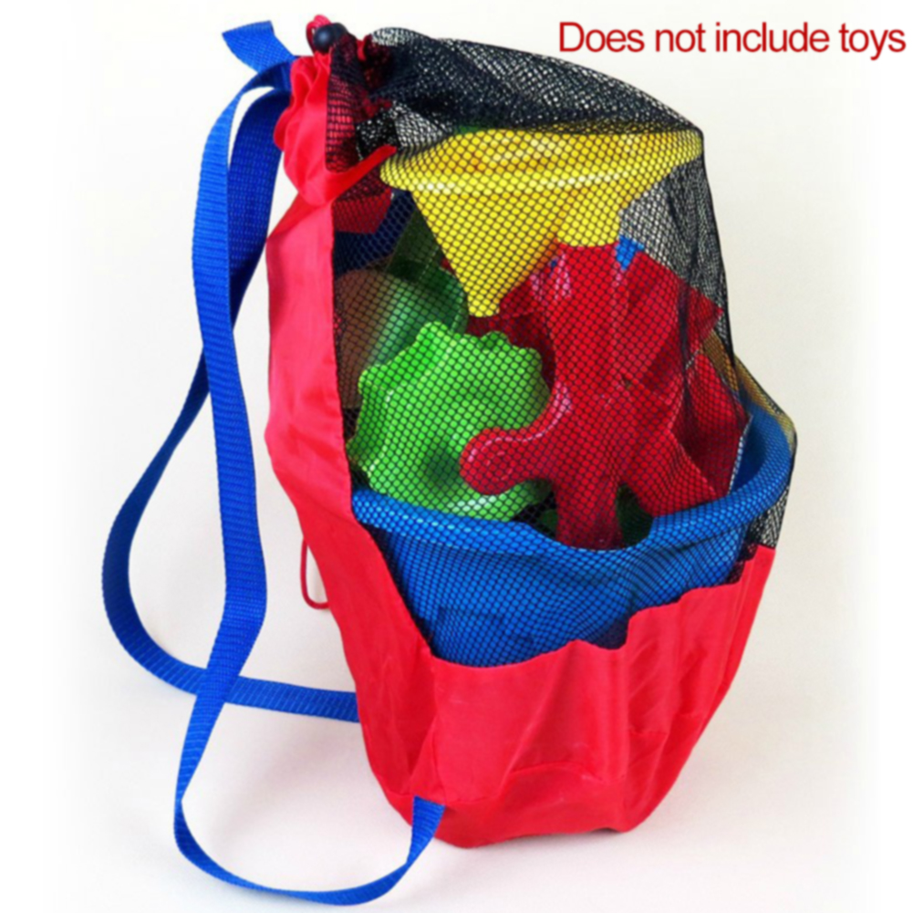 Clothes Towels Mesh Bag Sand Toy Storage Backpack Large Capacity Organizer Net Drawstring Sports Portable Outdoor Water Fun Kids