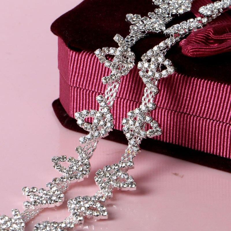 Diy Wedding Gowns: Crown Floral Trimming Fancy Rhinestones Cup Chain Handmade