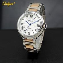 Onlyou Marca Mujeres hombres Reloj de Pulsera Miyota Movimiento de Cuarzo Caja de Acero Inoxidable Correa de Reloj Masculino Del Relogio Feminino 82001