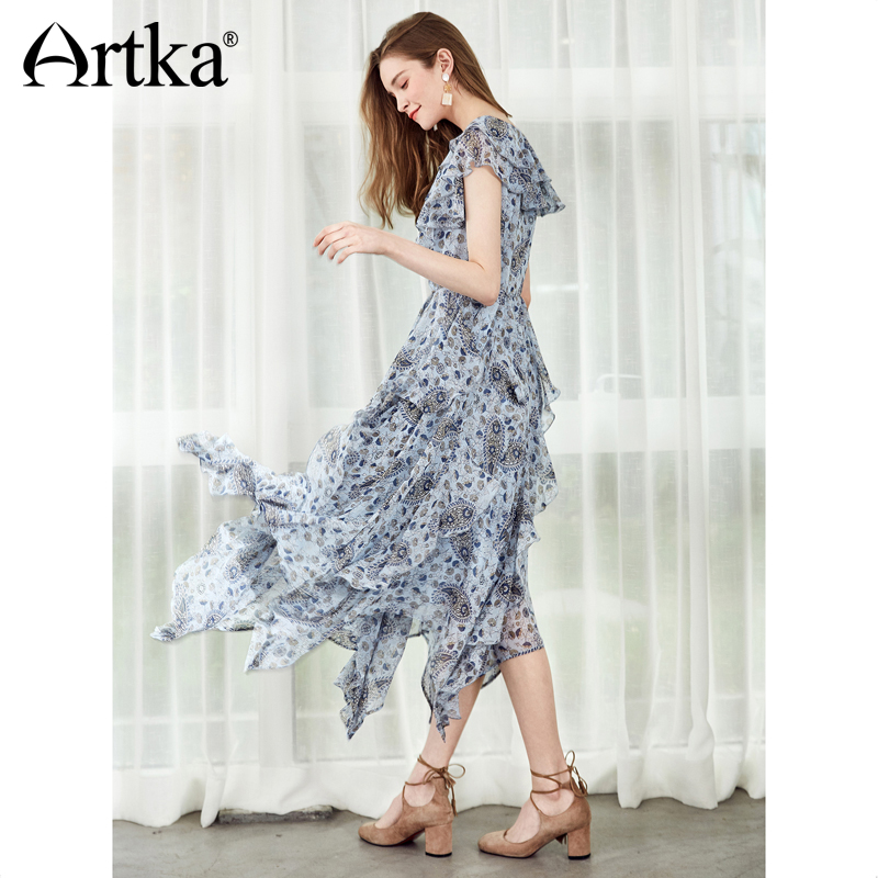 ARTKA New Summer Lace Mesh Dress For Women Short Sleeve Printing Floral A line Long Dress