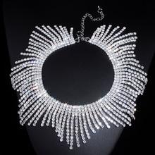 New Fashion Rhinestones Tassel Collar Choker Necklaces For Women Luxury Wedding Jewelry Crystal Statement Necklaces & Pendants