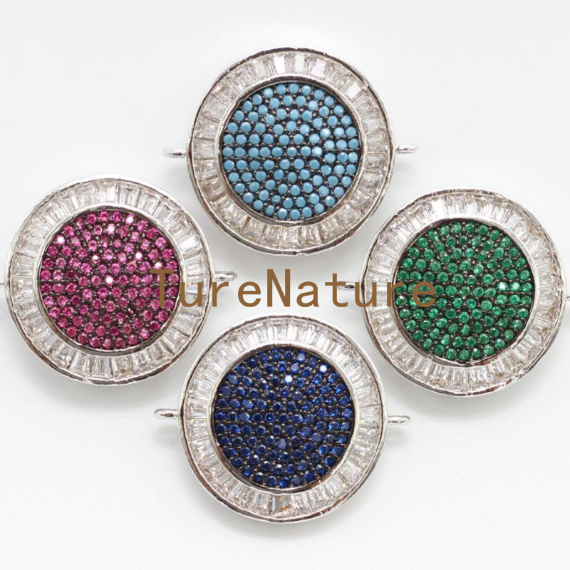 Handmade Jewelry Turkish Brass Metal Pendants Crystal Micro Zircon Round Charm Necklace Making In 21.3*25 mm PC4880