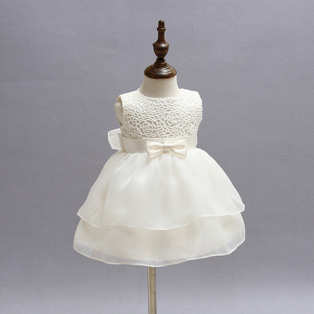 b60faf2839604 US $9.12 23% OFF|Aliexpress.com : Buy White Baby Girl Pageant Wedding Dress  Kids Party Vestido Clothes Elegant Tutu Baby Girl 1 Year Birthday Dress ...