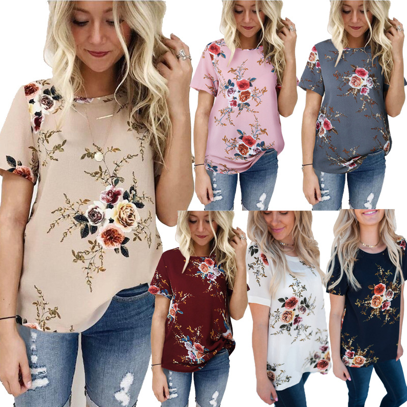 Femme Camisetas Mujer Verano Ladies Floral Print Plus Size Blouses Bohemian Style Short Sleeve O-Neck Chiffon Shirts S-3XL