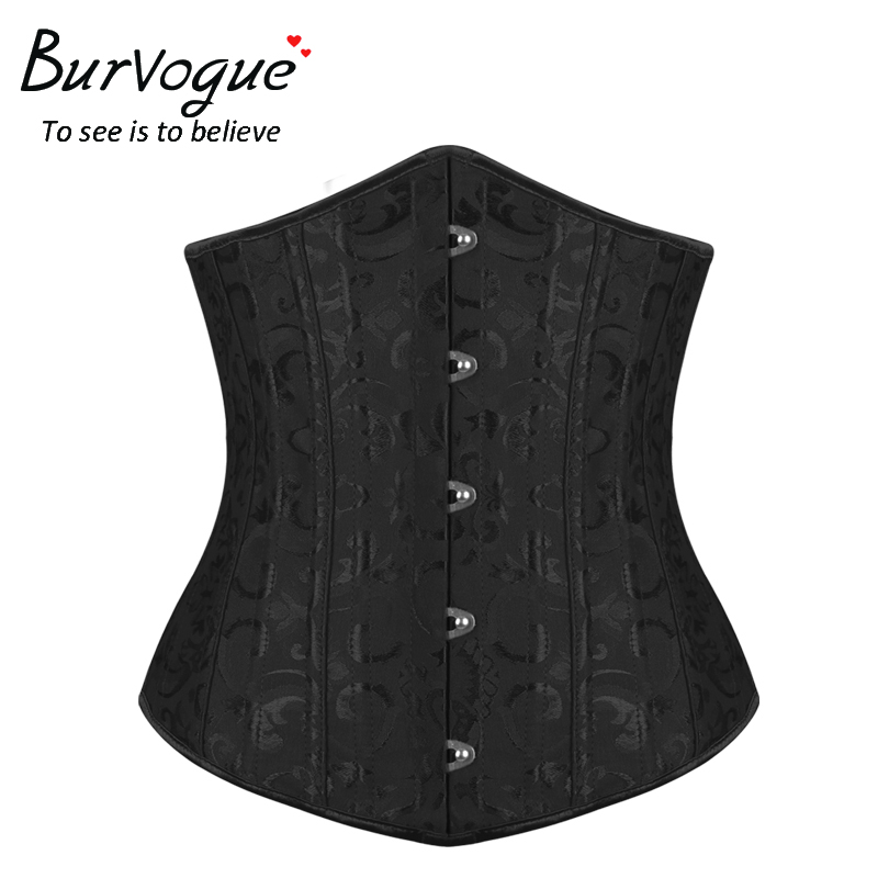 Image 5 - Burvogue Women Corset Underbust 26 Steel Boned Satin Corsets and Bustiers Plus Size Waist Trainer Control Belt for Weight Losscorsets and bustierscorset underbustcorset plus -