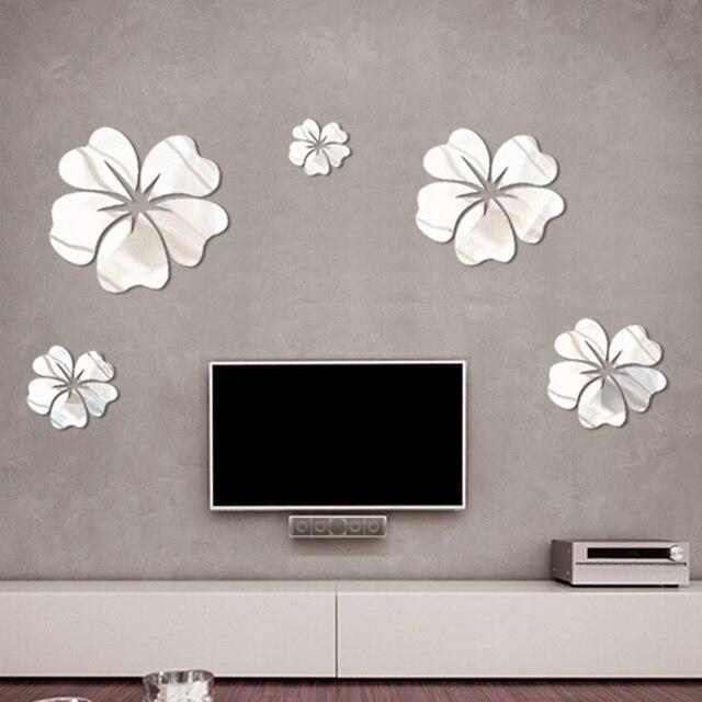 5/12/14/100PCS PVC Flower Mirror Wall Sticker Home Art DIY Wall ...