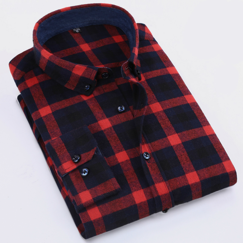 Autumn 2017 Men's Casual Slim-fit Button-down Check Patterned Shirts Comfort Soft Cotton Long Sleeve Brushed Flannel Plaid Shirt