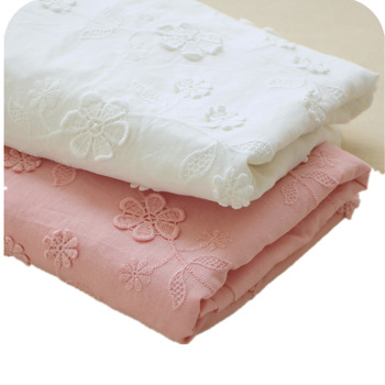 High Quality White/Pink Embroidered Cotton Lace Fabric Floral Embroidery Lace Cloth for Patchwork Sew Dress Skirt Doll
