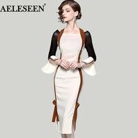 Luxury OL Bodycon Women Dresses 2018 Spring Flare Split Sleeve Patchwork Slash Neck Halter Contrast Color