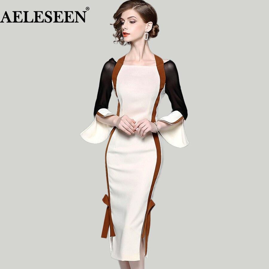 Здесь продается  Luxury OL Bodycon Women Dresses 2018 Spring Flare Split Sleeve Patchwork Slash Neck Halter Contrast Color Bow Mid Vintage Dress  Одежда и аксессуары