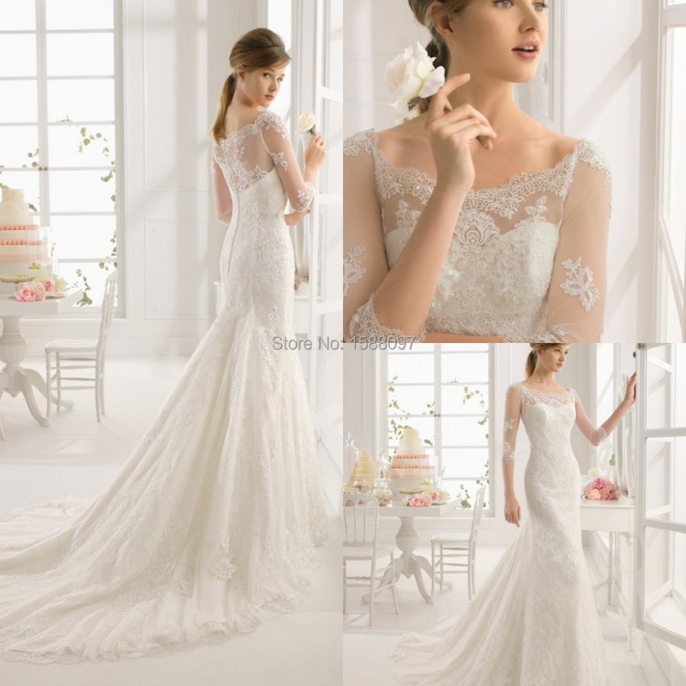 2015 Beautiful A Line Designer Wedding Dress with Sheer Half Sleeves ...