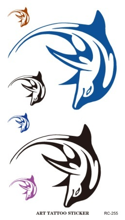 RC2255 Waterproof 3d Tattoo Sticker Color Dolphin Dance Design Large Temporary Tattoo Foil Decal Fake Tattoo Sticker